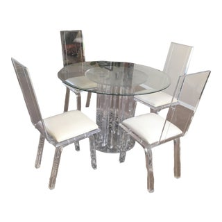 1970s Regency Lucite & Glass Dining Table and Chairs For Sale