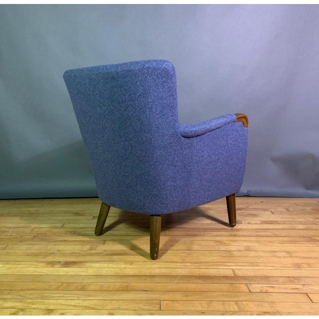 Mid-Century Modern 1950s Danish Armchair, New Kvadrat Felted Wool Upholstery For Sale - Image 3 of 11