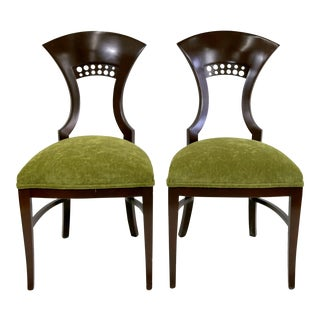 Hardwood Dining Chairs With Espresso Finish and Green Upholstery - a Pair For Sale