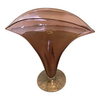 Handblown Blenko Art Glass Fan Vase, Footed For Sale