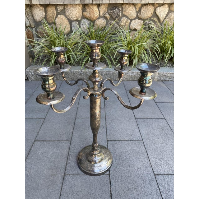 American Vintage Silverplate 5-Arm Candelabra - a Pair For Sale - Image 3 of 12