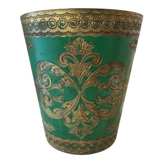 1960s Vintage Green & Gold Italian Florentine Waste Basket For Sale