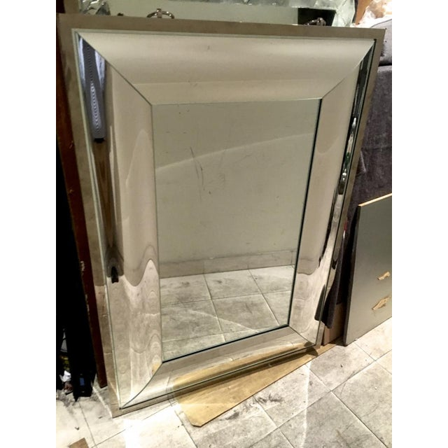 Andre Hayat Rectangular Curved Silver Mercury Frame Mirror For Sale - Image 9 of 11
