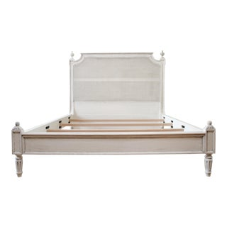 Vintage Queen Louis XVI Style Platform Cane Bed For Sale