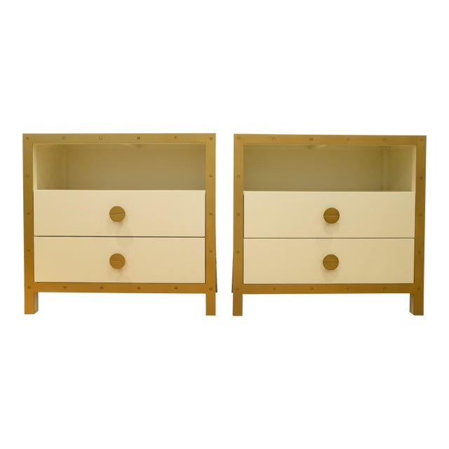 Lillian August Cream & Gold Chests/Nightstands - a Pair For Sale