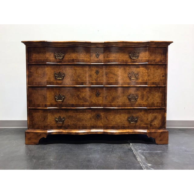 Chippendale Inlaid Banded Burl Wood Serpentine Four Drawer Dresser Chest For Sale - Image 13 of 13
