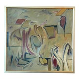 Image of Mid 20th Century Abstract Oil Painting by Blanche Barloon, Framed For Sale