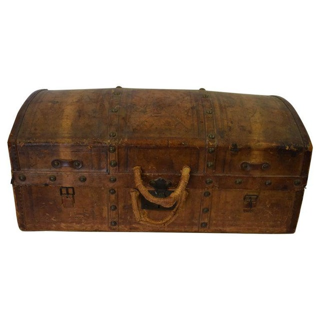 Antique Travel Dome Trunk For Sale - Image 13 of 13