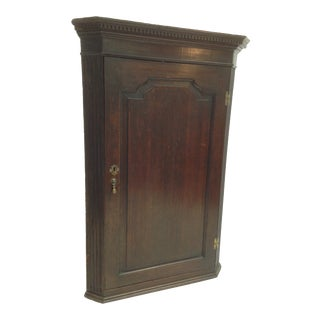 19th Century English Hanging Corner Cabinet For Sale