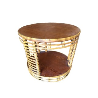 Two Tier Round Stick Rattan Coffee Table With Mahogany Top For Sale