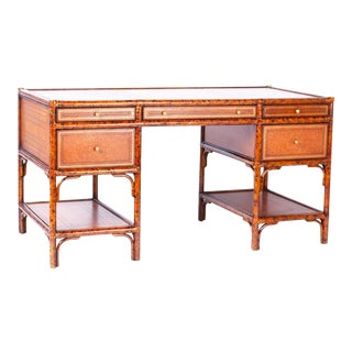 Midcentury Faux Tortoise Leather Topped Desk by Maitland-Smith For Sale