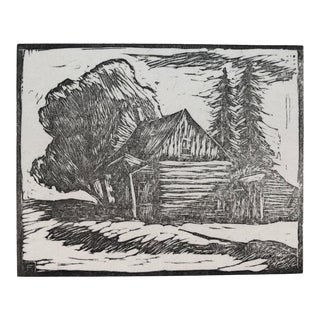 Cabin Outpost Woodcut by Charles Roy Fox 1940s For Sale