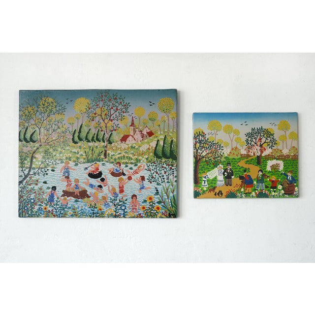 Modernist Celebratory Life Scene Paintings - a Pair For Sale - Image 9 of 9