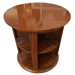 Stunning Zebrawood Rotating Library Table For Sale