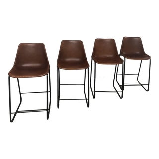 Cb2 Roadhouse Leather Barstools - Set of 4