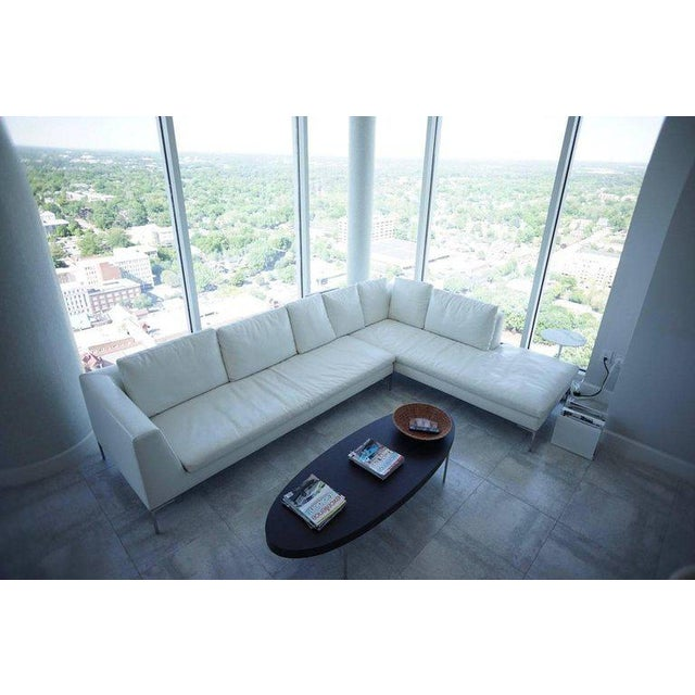 2010s B & B Lucrezia Sectional Sofa in White Leather For Sale - Image 5 of 11