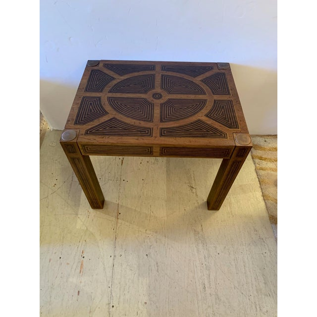 Inlaid Wood Rectangular End Table With Geometric Decoration For Sale - Image 13 of 13