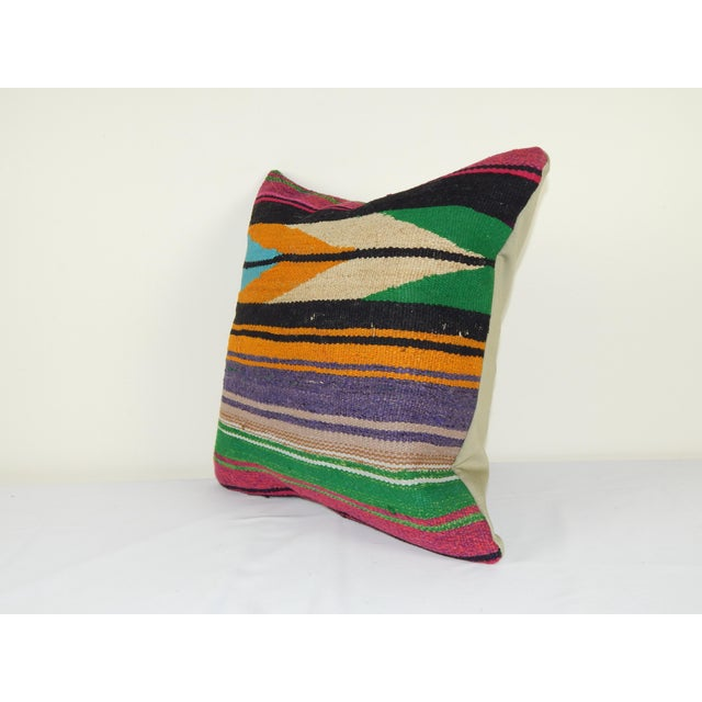 "Mid-Century Modern Square Turkish Vintage Kilim Pillow Cover 20"" X 20"" For Sale - Image 3 of 6"