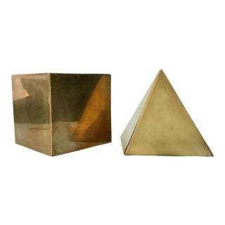 Mid-Century Brass Cube and Pyramid Figurines - A Pair For Sale