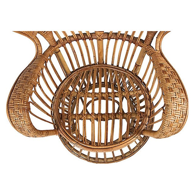 Brown Rattan Wingback Chair by Lio Carminati For Sale - Image 8 of 12
