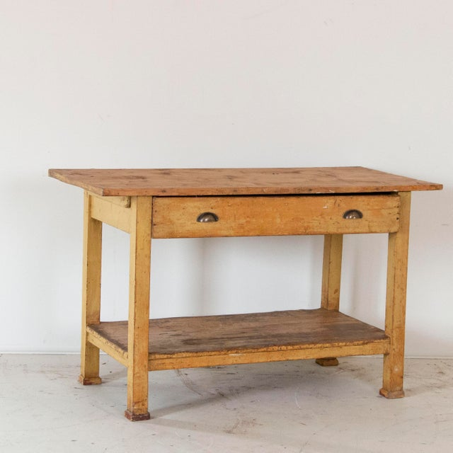 19th Century Pine Wood Work Table Small Kitchen Island