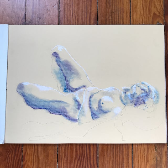 Nude Blue & White Drawing - Image 2 of 3