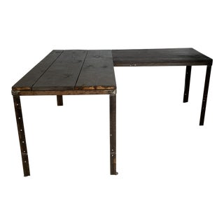 Rustic Barn Wood L Shaped Desk by Mike Neffke For Sale