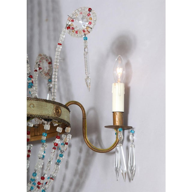 Multi-Colored Glass Beaded Italian Chandelier For Sale - Image 9 of 11