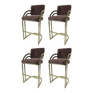 Brass Cantilevered Bar Stools - Set of 4 For Sale