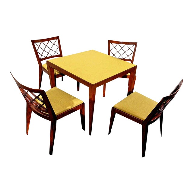 Jean Royère Documented Game Table Set and Chairs Model 'Croisillon' For Sale