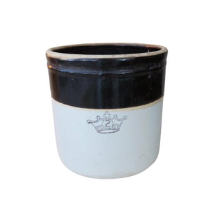 Antique 2 Gallon Stoneware Pottery Brown and White Crown Crock For Sale