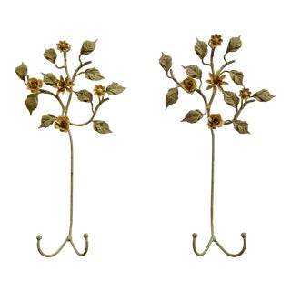 Floral Wrought Iron and Tole Wall Plate Holders - a Pair For Sale