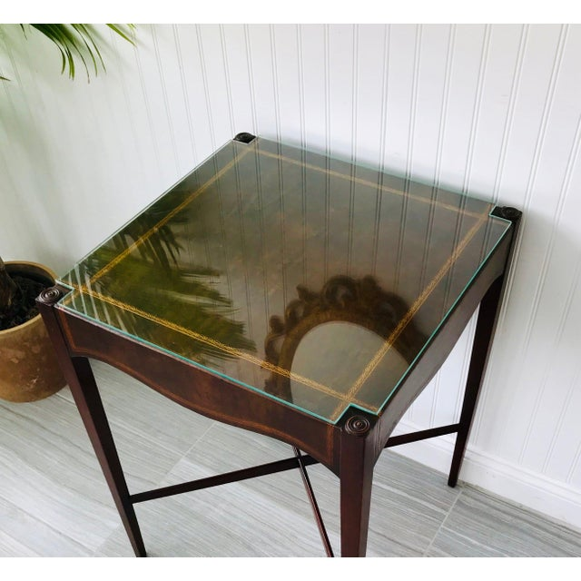 1900 - 1909 Antique French Game Table With Leather Top From John Wanamaker For Sale - Image 5 of 11