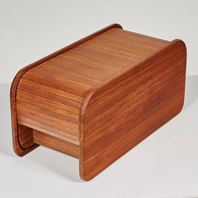Kalmar 1970s Rectangular Teak Tambour Box For Sale - Image 4 of 6