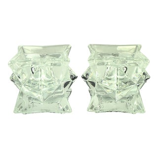 Michael C. Fina Lead Crystal Crystal Starburst Candlestick Holders - a Pair For Sale