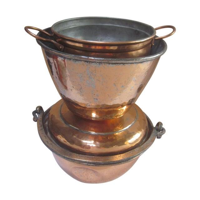 Copper Pot Set Hammered Copper & Brass Pots & Pans - Set of 4 - Image 1 of 10