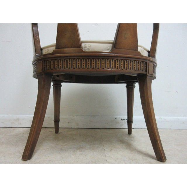 Vintage Italian Regency Cherrywood Fireside Side Lounge Chair For Sale - Image 10 of 11