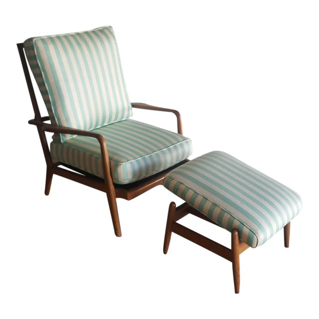 Solid Walnut Lounge Chair & Ottoman - Image 1 of 11