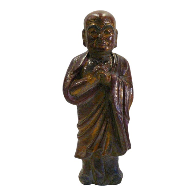 Vintage Chinese Wood Brown Golden Monk Figure For Sale