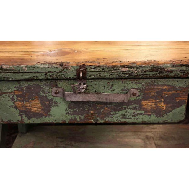 Mid 20th Century Vintage Large Industrial Green Painted Work Table For Sale - Image 4 of 8