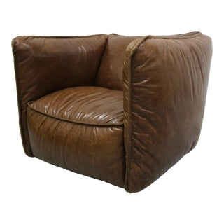Oversized Brown Cigar Leather Club Chair For Sale