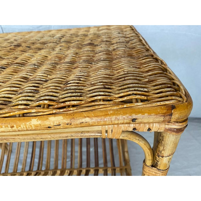 Vintage Rattan Wicker Side Table With Magazine Shelf For Sale - Image 12 of 13