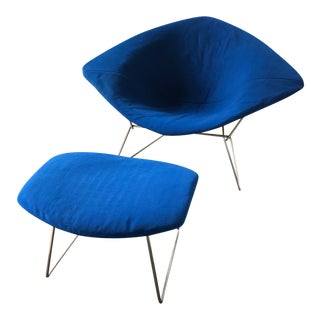 Mid 20th Century Vintage Harry Bertoia for Knoll Diamond Lounge Chair & Ottoman For Sale