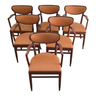 Vintage Mid-Century Modern Walnut Dining Chairs - Set of 6 For Sale
