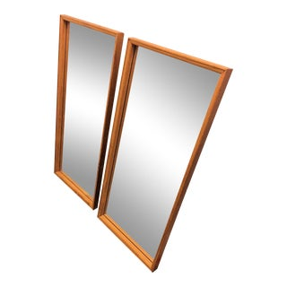 Mid 20th Century Danish Teak Framed Mirrors - a Pair For Sale