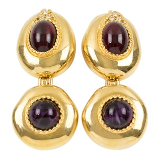 Givenchy Paris Signed Clip-On Earrings Dangling Gilt Metal Large Glass Cabochons For Sale