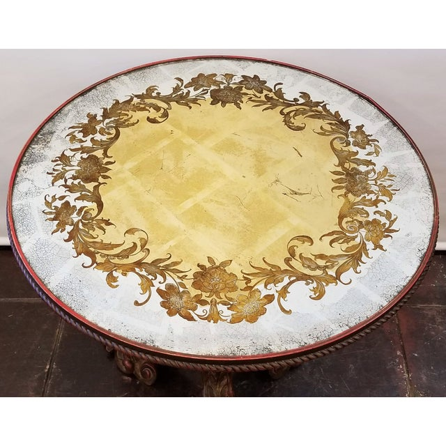 Italian Baroque Carved Pedestal Centre Table With Putti Base and Verre Églomisé Top For Sale In San Diego - Image 6 of 11