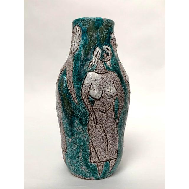 1960s Gambone and Fanciullaci Style Italian Mid-Century Modern Ceramic Vase For Sale - Image 5 of 13