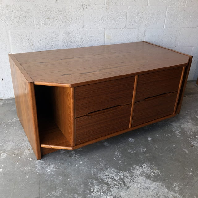 Wood Vintage Danish Modern Tv Stand Media Console For Sale - Image 7 of 13