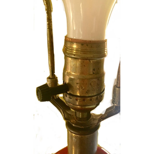 Mid-Century Red Glazed Ceramic Lamp - Image 5 of 9